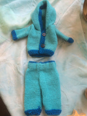 Small Doll Knitted Hooded Jacket and Pants