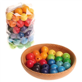 Grimms Rainbow Wooden Beads 30mm x 36 Beads