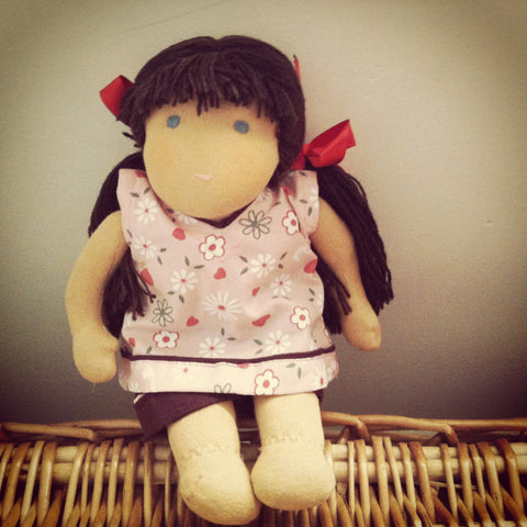 Small Steiner Doll- Girl Black Hair with Fringe
