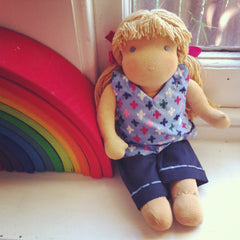 Small Steiner Doll- Girl Blond Hair with Fringe