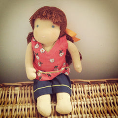 Small Steiner Doll- Girl Brown Hair with Fringe