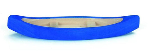 blue wooden toy canoe