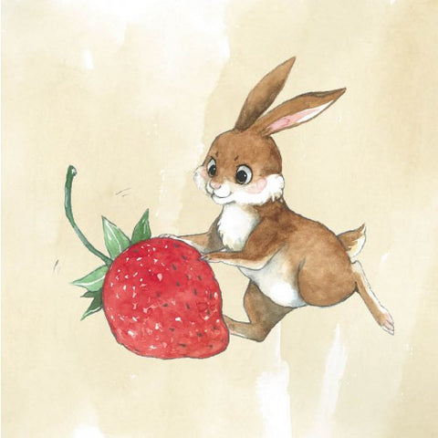 Greeting Card - Strawberry Bunny