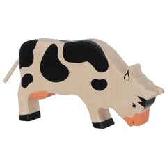 Wooden Cow Grazing Black Holztiger