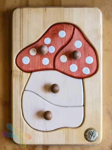Drei Blatter, mushroom, toadstool, Wooden Puzzle, Toddler, Dragonfly Toys