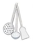 Enamel ladle, egg lifter and skimmer set for kids