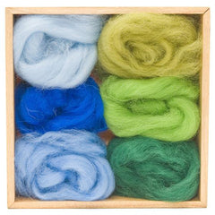 Wool Roving Sky and Forest Colours Pack