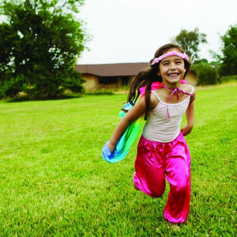 Silk rainbow cape for kids imitation and dress up play