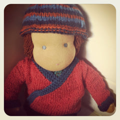 Large Doll Knitted Jacket and Beanie