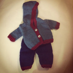 Large Doll Knitted Hooded Jacket and Pants