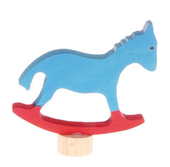 Wooden rocking horse decoration for birthday and advent rings by Grimms