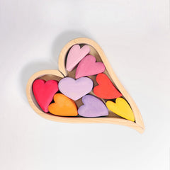 Grimms Wooden Hearts Blocks - Red