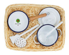 Enamel play cooking set for kids can be used on stove