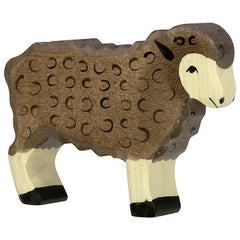Wooden Sheep Standing Black Holztiger