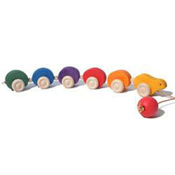 Pull along wooden caterpillar toy for babies and toddlers learning to walk
