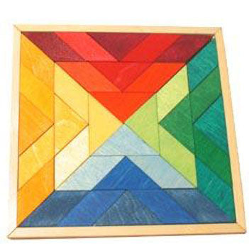 Colourful wooden puzzle   Indian Square design   Grimms Spiel and Holz