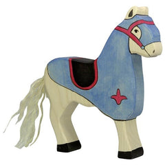 Wooden Tournament Horse Blue Holztiger