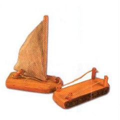 Natural wooden sailing boat