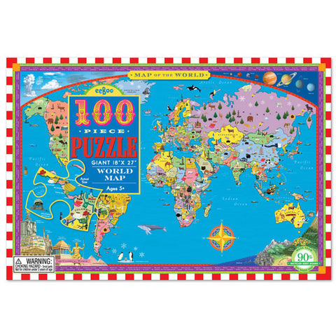 World Map Puzzle (100 Pieces) by Eeboo