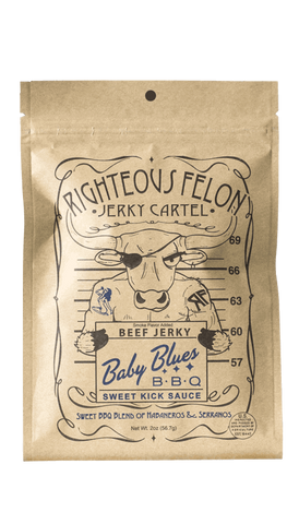 Righteous Felon Baby Blues BBQ Beef Jerky 2oz - Hot Sauce Willie's