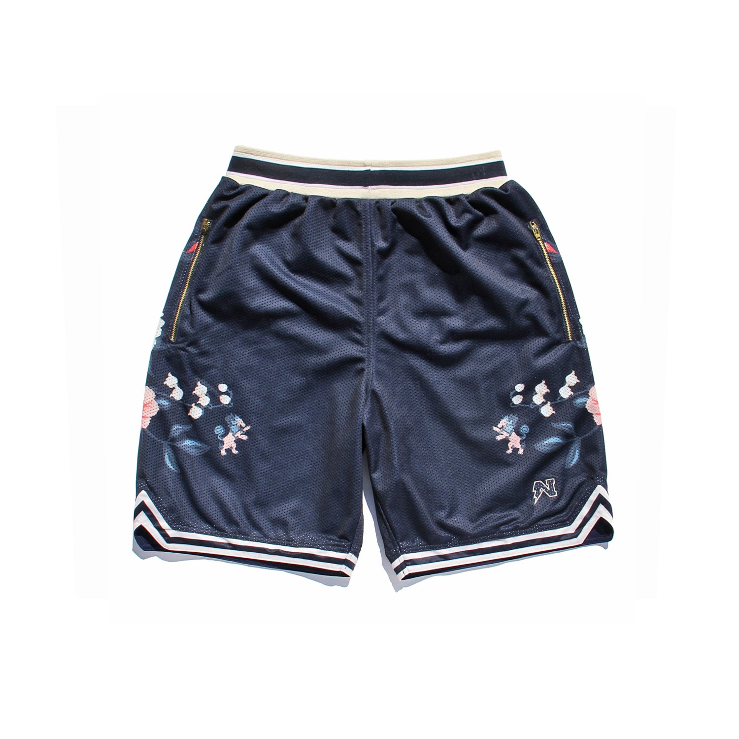 Floral Basketball Shorts - Navy