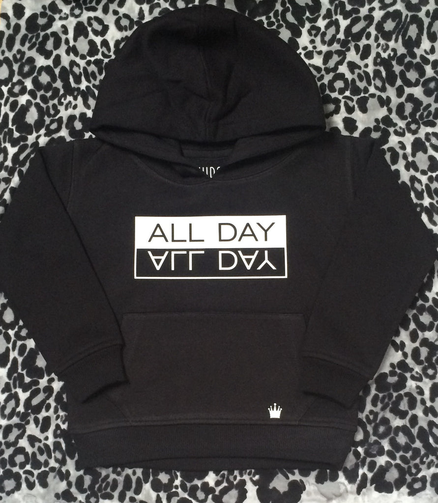 ALL DAY hooded jumper (White print)