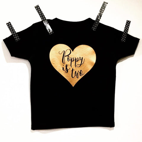 Birthday Edition Personalised Heart Black t-shirt
