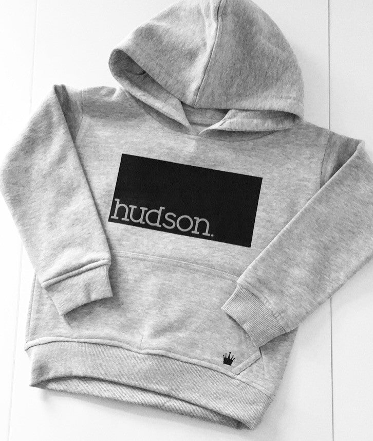Personalised Name Grey Hooded Jumper (rectangle)