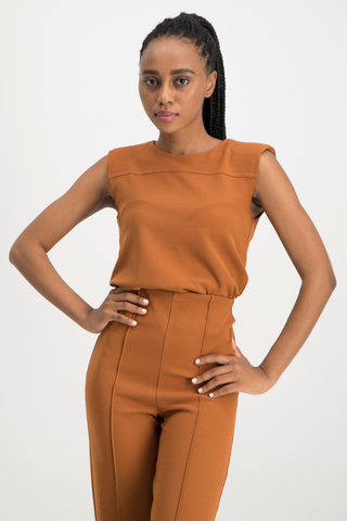 Casey Shoulder Pad Top - Rust
