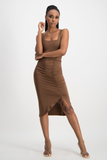 LERATO Side Ruche Skirt - Pinecone