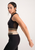 Mesh Back Active Crop Top - Black