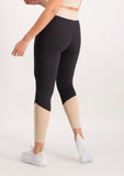 Colour Block Active Legging - Black and Beige