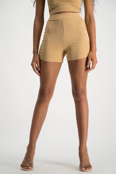 LULAMA Side Ruche Short - Latte