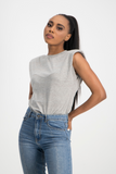 ZOE Shoulder Pad Tee - Grey