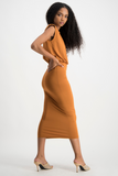 ZIYANDA Shoulder Pad Dress - Glazed Ginger