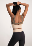 Elastic Strap Active Crop Top - Beige