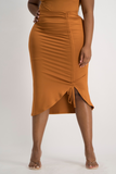 LERATO Side Ruche Skirt - Glazed Ginger