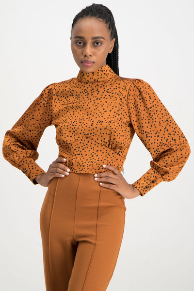 Sihle Spot Satin Blouse - Rust