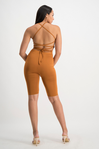 AALIYAH Tie Back Unitard - Glazed Ginger