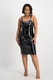 LAURIE Black Vinyl Dress