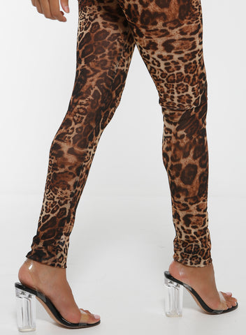 LAKSHMI Animal Printed Mesh Legging