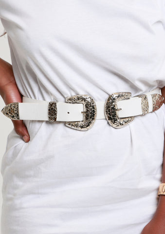 Rodeo Double Buckle Belt - White/Silver