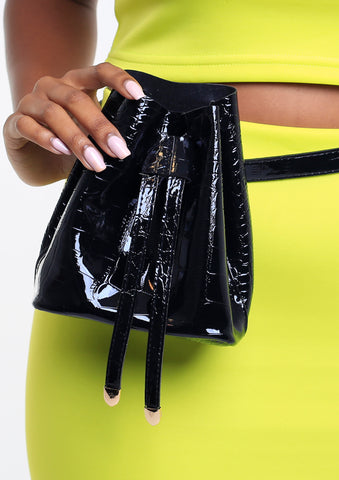 Faux Croc Drawstring Belt Bag