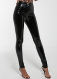 Black KIERA Latex Skinny Pants