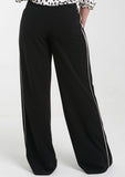 VERA Black Pants w/ Cream Piping