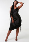 ROMY Black Ruche Detail Satin Dress
