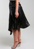 LINDI Black Panelled Satin Skirt w/ Fringe Tie