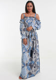 MINKA Blue Tropical Maxi Dress