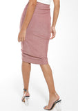 MANDISA Blush Shimmer Ruched Front Skirt