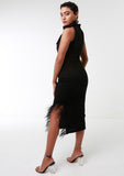 AUDREY Kittybow LBD w/ Feather Slit